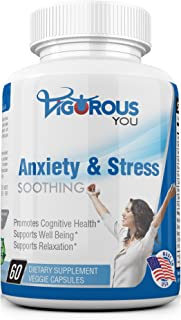 Powerful Anxiety & Stress Relief Supplement Soothing Calm - All-Natural Anxiety Relief Supplements Herbal Blend Keeps Busy Minds Calm, Happy, Focused & Relaxed w/Ashwagandha L-Theanine, Niacin, 5-HTP