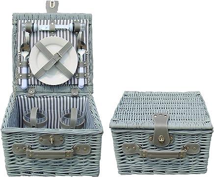 My Flair Picknickkoffer grau weiß f&uu ;r 2 Personen B00VHZLFC4   Offizielle