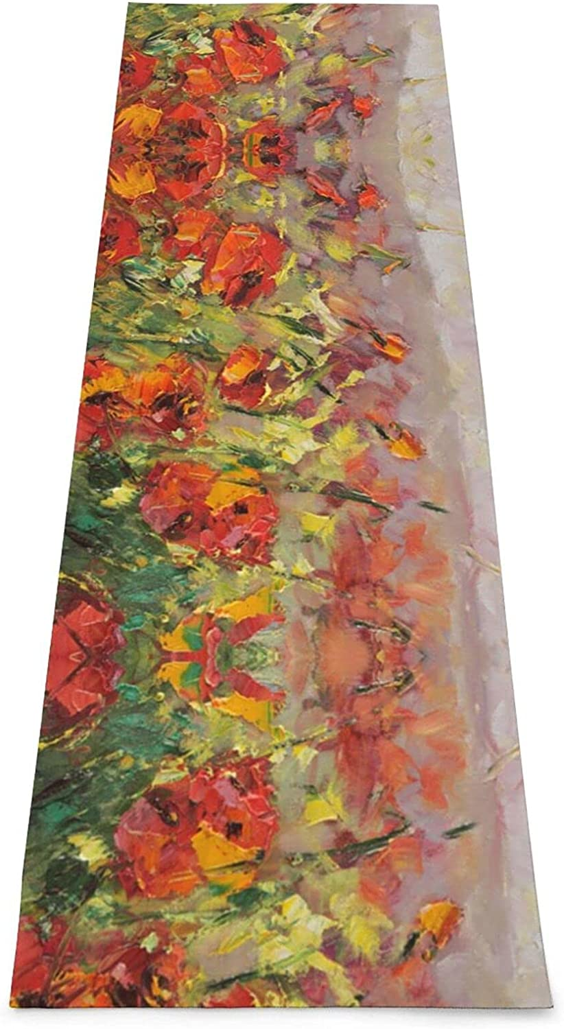 Oil Challenge Direct store the lowest price of Japan Painting Red Flower Print Yoga Extra - Mat 5mm Premium