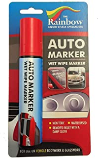 Car Paint Marker Pens Auto Writer Red - Wide Tip - All Surfaces, Windows, Glass, Tire, Metal - Any Automobile, Truck or Bicycle, Water Based Wet Erase Removable Markers Pen