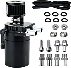 350ml Oil Catch Can Tank with Breather Aluminum Polish Baffled Oil Separator Filter (Black)