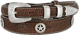 Western Silver Engraved Rodeo Star Ranger Genuine Leather Bison Belt for Men