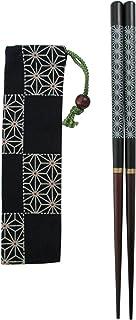 大岸正商店 若狭塗箸携帯箸セット 麻の葉 黒21cm