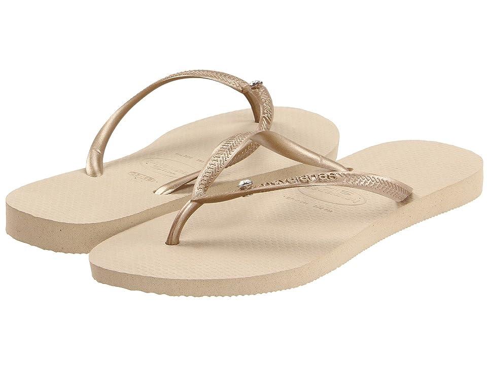 Havaianas Slim Crystal Glamour SW Flip Flops (Sand Grey/Light Gold) Women