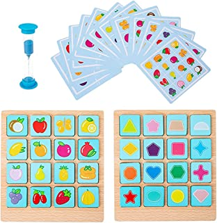 YHomU Toddler Baby Infant Development Memory Matching Card Game Educational Fruit Fun Funny Interactive Wooden Learning To...