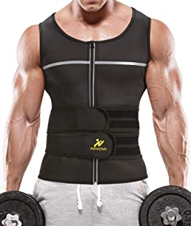 SEAMOON Mens Waist Trainer Sweat Vest 2 in 1 Belt Workout Hot Neoprene Body Shaper Sauna Suit Fitness Tank Tops Home Gym