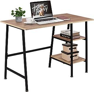 VECELO Table de Bureau avec 2 Etagères, Table Informatique en Bois chêne, Armature Métallique Table d'Etude pour Bureau Ch...