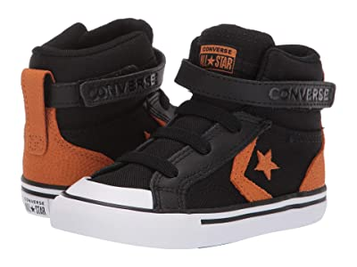 Converse Kids Pro Blaze Strap Back Court Leather Hi (Infant/Toddler) (Black/Monarch/White) Boys Shoes