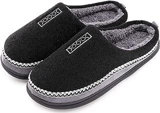 Men's Cozy Fuzzy Wool Fleece Memory Foam Slippers Slip On Clog House Shoes Indoor/Outdoor