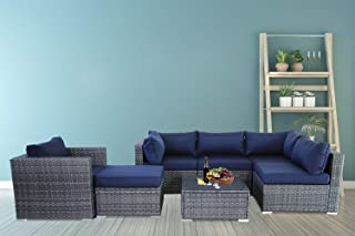 Patio Furniture Sofa Outside Couch PE Grey Wicker 7pcs Garden Sectional Rattan Sofa Set Conversation Sets Party Sofa Navy Blue Cushion
