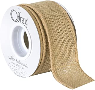 "Offray 1.5"" Wide Wired Edge Burlap Ribbon, 3 Yards, Natural Brown"