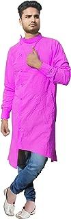 Lakkar Haveli Men's Trail Cut Kurta Indian Casual Shirt Cotton Tunic Pink Color Plus Size