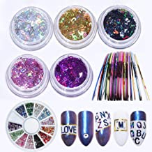 5 Color Holographic Sparkly Nail Sequin 26 Letters Glitter Flakes, 10 Rolls Striping Tape Line, 1pcs Rhinestones Nail Art Decoration DIY Design Salon
