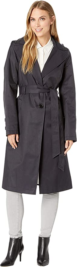 Long Hooded Belted Trench Coat with Faux Leather Detail