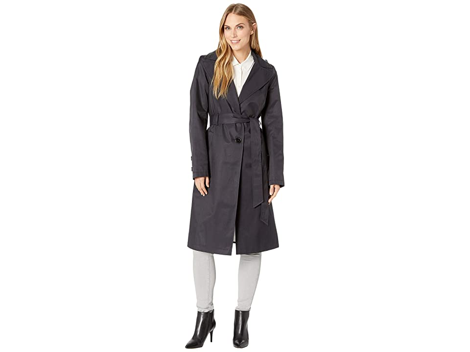 Via Spiga Long Hooded Belted Trench Coat with Faux Leather Detail (Navy) Women