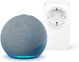 Nuevo Echo Dot (4.ª generación), Azul grisáceo + Amazon Smart Plug (enchufe inteligente WiFi), compatible con Alexa