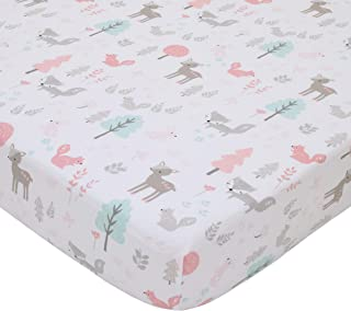 NoJo Sweet Forest Friends - Pink, Aqua, Grey & White 100% Cotton Fitted Crib Sheet, Pink, Aqua, Grey, White