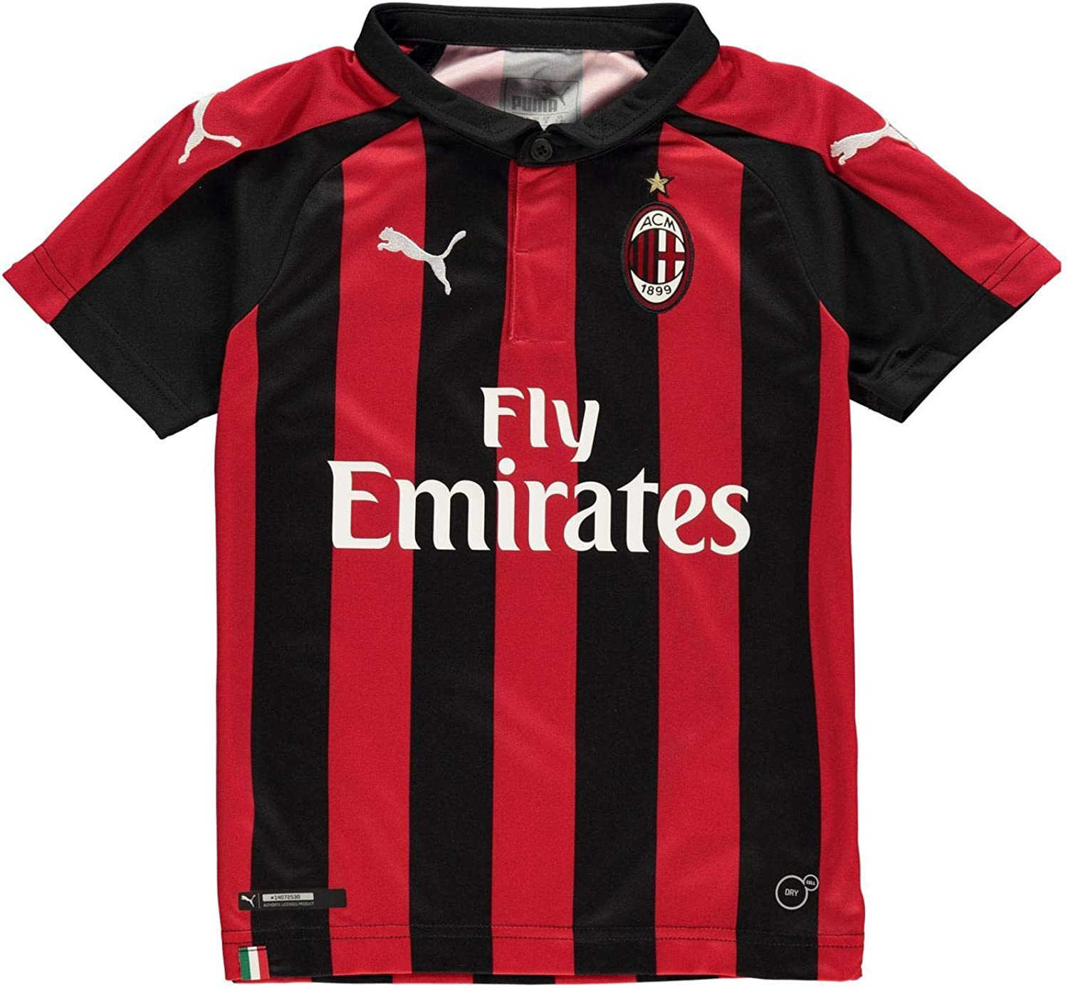 Puma AC Milan Home Jersey 2018 2019 Juniors Red Black Football Soccer Shirt Top