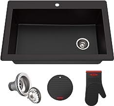 Kraus KGD-54BLACK Forteza Granite Kitchen Sink, 33 Inch, Black