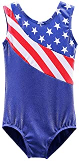 BAOHULU Big Girls' Long Sleeves Spliced Stars and Stripes Ballet Leotard