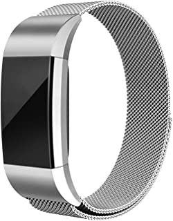 Erencook Compatible with Fitbit Charge 2 Band Stainless Steel Magnet Metal Replacement Bracelet Strap for Women Men