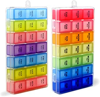 7 Days Pill Holder Organizer Tablet Box Weekly Medication Case Daily AM Morning Noon PM Night Container Compartments Detachable Dispenser (Mix of 2)