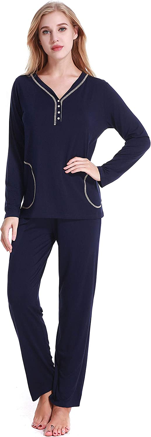 N NORA TWIPS Women's VNeck Sleepwear Long Sleeve Pajama Set bluee