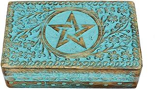 Village Handwork Wooden Jewel Box for Women | Antique Look with Star Design Handcarved | Decorative URN | Storage & Organi...