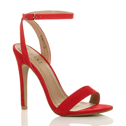 047fa94dfa2 Ajvani Womens Ladies high Heel Platform Ankle Strap Barely There Strappy  Sandals Shoes Size