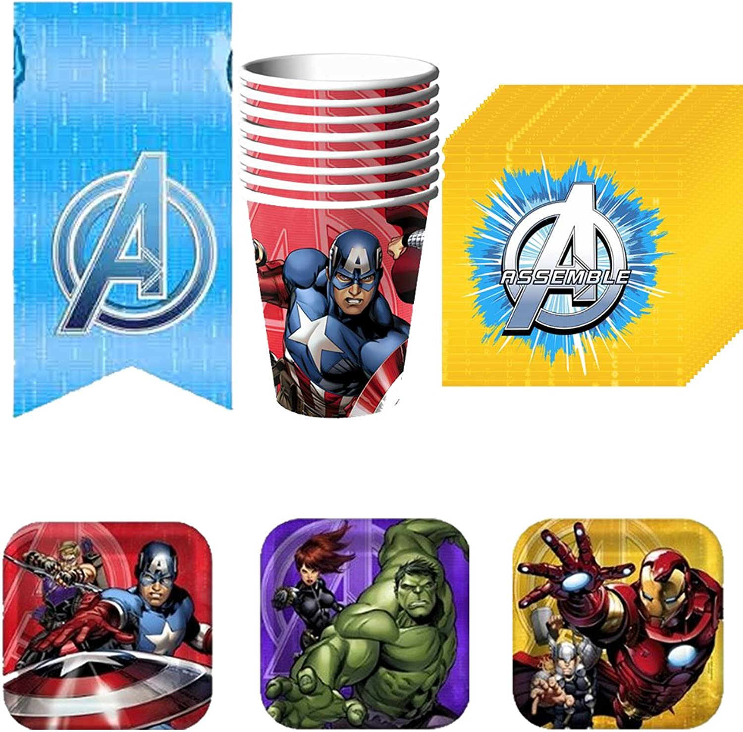 Avengers Assemble Party Supplies Pack Including Cups, Plates, Napkins and Tablecover for 8 Guests