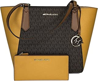 Michael Kors SM Kimberly bundled with LG Carryall Wallet - MK Brown/Marigold