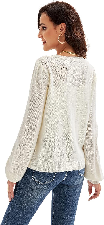 LIUMILAC Women Button Down Knit Cardigan Sweater Long Sleeve Crew Neck Knitwear