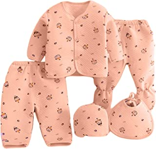 GRAPPLE DEALS Baby's Winter Wear Warm Cotton 5 Pcs Gift Set 1 to 6 Month. (Any Print - 1 Set)