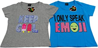 Just Love Cute Graphic T Shirts for Girls (Pack of 2)