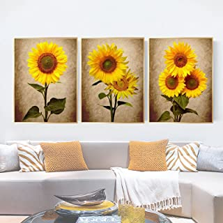 Sunflower Decor Wall Art, Floral Pictures Wall Decor Set of 3, Botanical Wall Decorations Canvas Painting for Kitchen Bath...