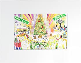 MICHAEL STORRINGS Matted Hand-Embellished Glittered 'Christmas in New York' Print, 5x7-in Print is Matted to 8x10 Final Size