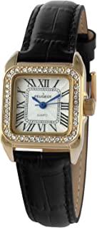 Women's 14K Gold-Plated Tank Crystal Bezel Roman Numeral Black Leather Band Watch 3052BK