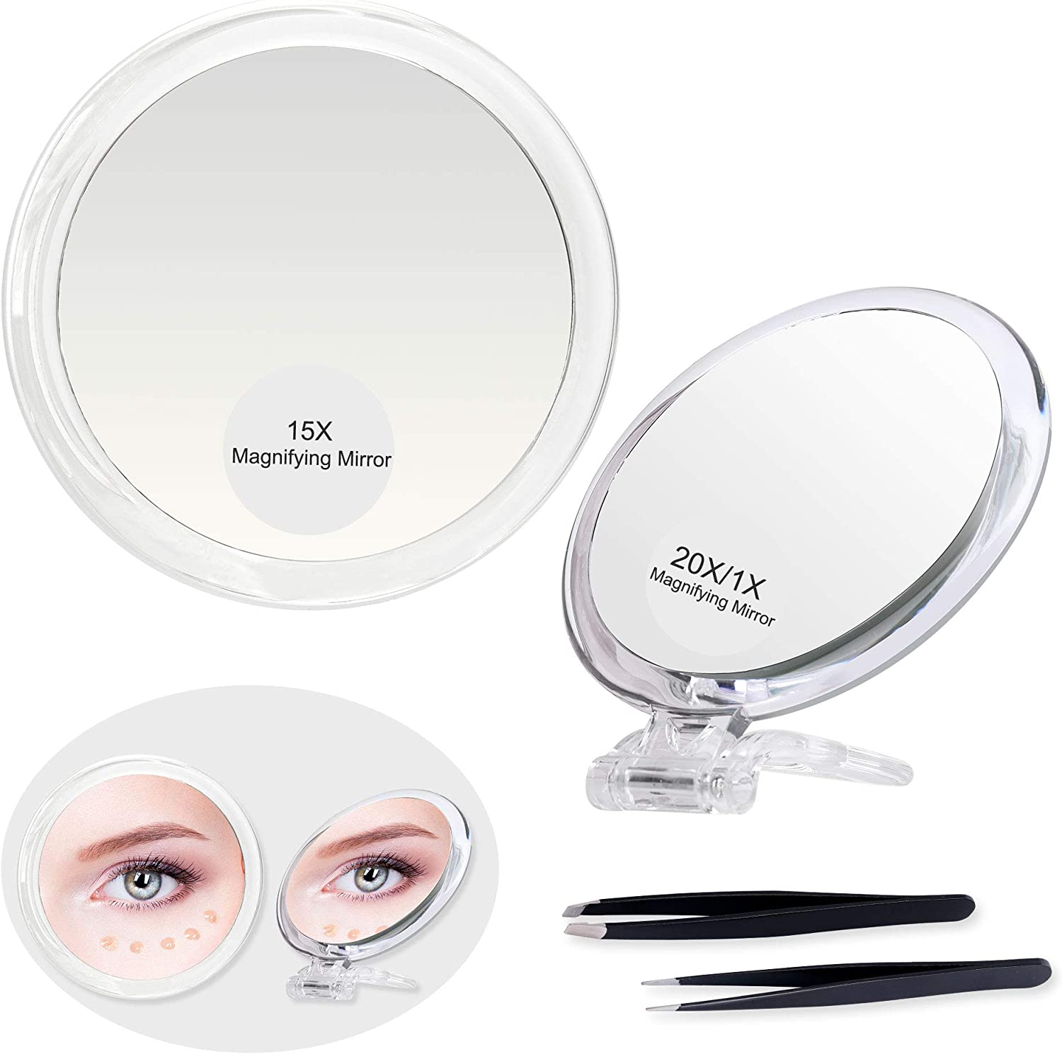 Set of 6Inch 15X Magnifying Mirror 1 20X OFFicial site Cups 3 Branded goods Suction 5Inch