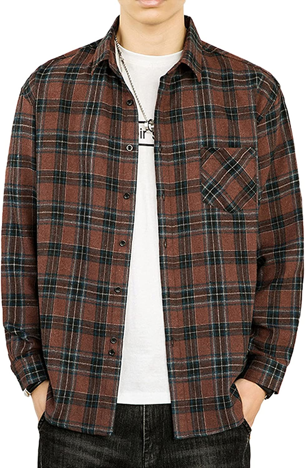 Men's Classic Lattice Shirt Long-Sleeved Plaid Loose Fit Shirt Full Button Down with Pocket