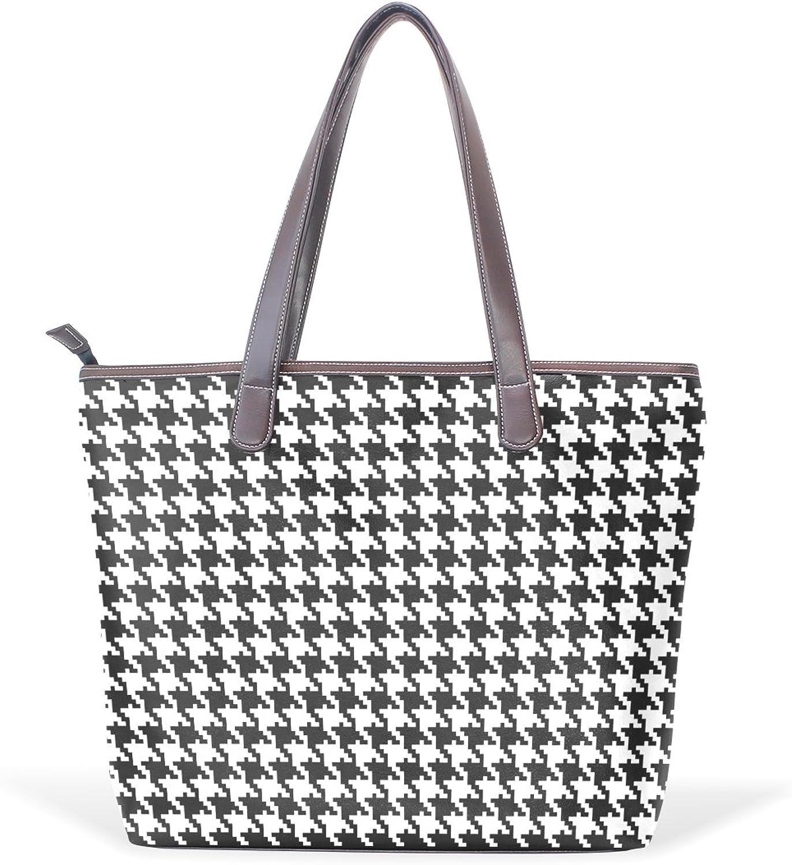 IMOBABY Women Large Tote Top Handle Shoulder Bags Classic Houndstooth Patern Ladies Handbag