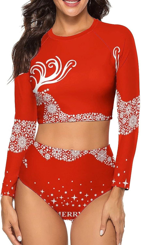 Tvsuh-u Womens Bathing Suits 2 PCS Running Christmas Deer Long Sleeve Rash Guard Swimsuits