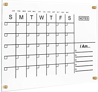 $68 » Acrylic Calendar Dry Erase Calendar for Wall, Notes, I AM Affirmations (Gold)
