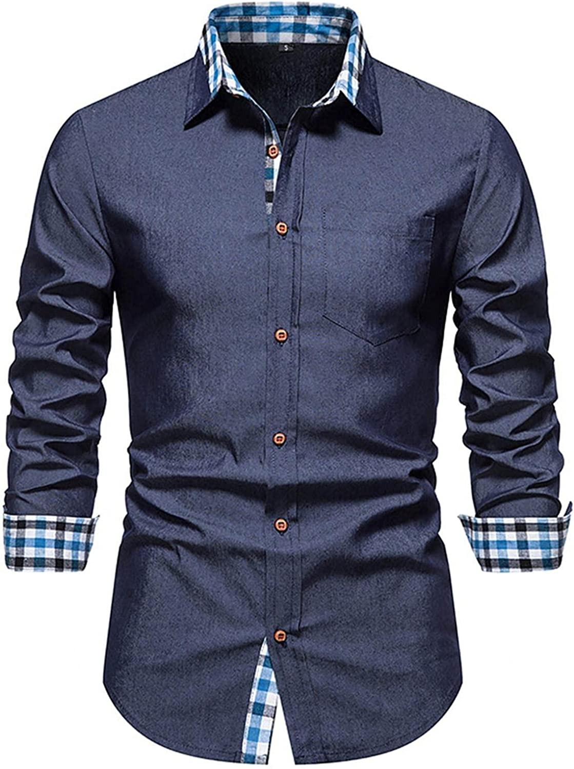 Huangse Men's Slim Fit Business Shirt Casual Long Sleeves Inner Stitching Plaid Button Down Dress Shirts