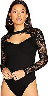 DIDK Damen Body Elegant Langarm Bodysuit mit Spitze Ärmeln Bodys Oberteil Blusebody Damenbody Schmal Bodysuits Tops