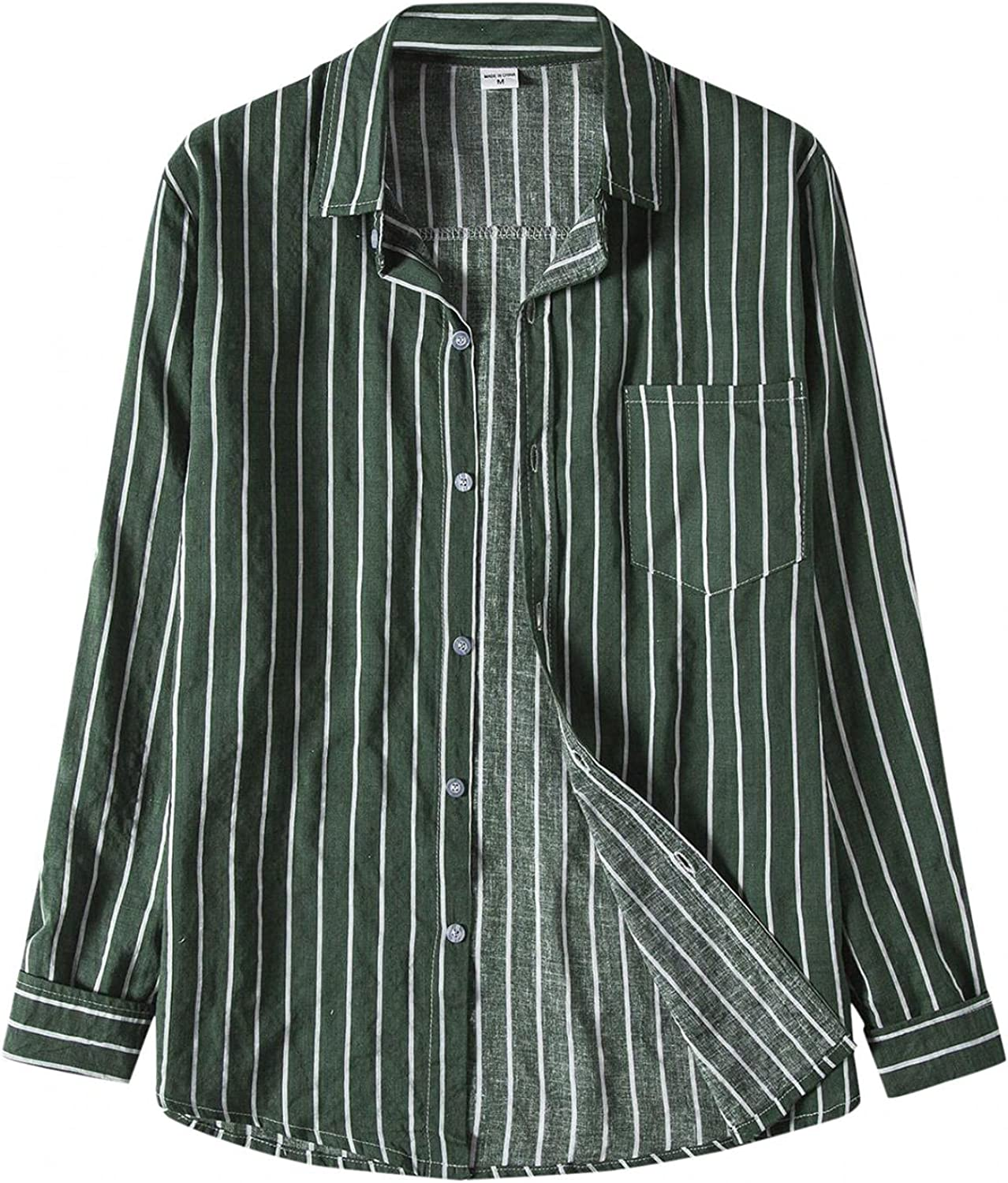 Huangse Mens Loose fit Casual Linen Shirt for Men Button Down Contrast Color Striped Shirt with Pockets Turndown Neck Tops