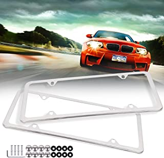 ECCPP License Plate Frame Stainless Steel License Plate Covers Protect Plates with Screws for US Vehicles (2Pcs 4 Holes Silver)