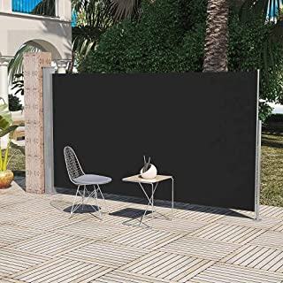 Outdoor Patio Retractable Side Awning, Windscreen Privacy Divider for Terrace, Balcony Black, 6' x 10'