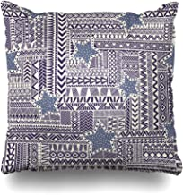 Ahawoso Throw Pillow Cover Border Ethnic Zentangle Pattern Black Abstract Ink Geometric African Aztec Boho Doodle Design White Decorative Pillowcase Square Size 16
