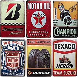 6 pcs Retro Vintage Tin Signs, Wall Metal Posters Plaques, Home Bar Garage Man Cave Decor, 8'x12'/20x30cm