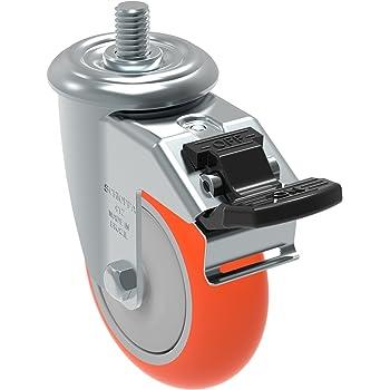 3//8 Diameter x 1-1//2 Length Threaded Stem Non-Marking Polypropylene Precision Ball Bearing Wheel Schioppa GLEEF 412 NPE SL L12 Series 4 x 1-1//4 Diameter Swivel Caster with Wheel Lock Brake 275 lb